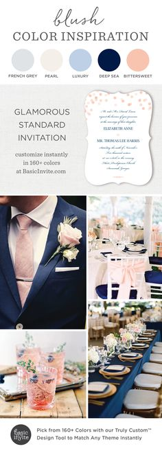 Glamorous Wedding Invitation, Blush Wedding Invitations,