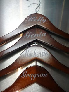 Great weddings party hanger names. You will get 13 decals names. Please leave message with all names, titles, and date that is needed for each hanger. Wedding Hangers, 6 Packs, Clothes Hanger, Etsy Store, Vinyl Decals, Party Supplies, Dream Wedding, Packing, Names
