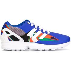 Adidas Originals ZX Flux Sneakers ($91) ❤ liked on Polyvore featuring shoes, sneakers, blue, adidas originals trainers, colorful sneakers, blue sneakers, striped sneakers and rubber sole shoes