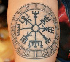 Image of Vegvisir Tattoo Viking Tattoo - Find Tattoos Online Viking Compass Tattoo, Viking Warrior Tattoos, Compass Tattoo Meaning, Viking Tattoo Symbol, Norse Tattoo, Viking Tattoo Design, Tattoos With Meaning, Simbolos Tattoo, Knee Tattoo