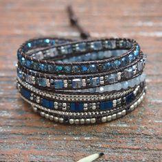 Blue Crystal Mix Wrap Bracelet Boho bracelet Bohemian