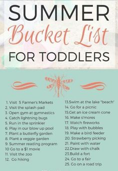 Summer Bucket List for Toddlers - Lots of fantastic toddler friendly ideas for this summer! Summer Bucket List for Toddlers - Lots of fantastic toddler friendly ideas for this summer! Infant Activities, Learning Activities, Activities For Kids, Indoor Activities, Childcare Activities, Babysitting Activities, Preschool Curriculum, Preschool Ideas, Kindergarten