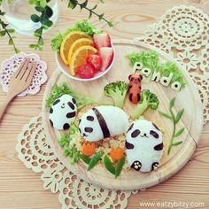 """photo: """"✻Panda Land✻ ☆ For you Thank you"""" Cute Food, Good Food, Amazing Food Art, Creative Snacks, Fruits For Kids, Food Artists, Bento Recipes, All Things Cute, Happy Family"""