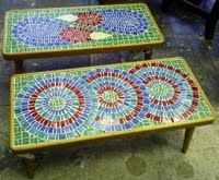 low to the ground mosaic tables for comfy chairs.