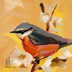 Nuthatch no. 28 original bird oil painting by Angela Moulton #prattcreekart #nuthatch