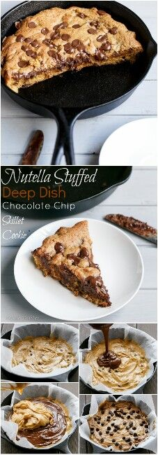 Nutella Stuffed Deep Dish Chocolate Chip Skillet Cookie - Food and drink - Cookies Recipes Just Desserts, Delicious Desserts, Yummy Food, Yummy Snacks, Baking Recipes, Cookie Recipes, Dessert Recipes, Big Cookie Recipe, Cookie Desserts