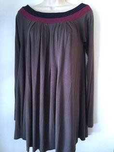 Size S AKIKO Color Block Micro Modal Mini Dress Grey Plum Blue Long Sleeve  http://www.ebay.com/itm/322136495120?rmvSB=true