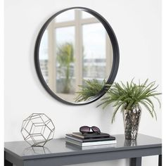This decorative round wood mirror is a beautifully unique accent piece for your home decor. Hang this mirror above a fireplace, over a sofa, or above your bedroom headboard for a stunning wall accent. This mirror makes a beautiful vanity mirror. Round Wood Mirror, Black Wall Mirror, Wall Mounted Mirror, Round Mirrors, Wall Mirrors, Black Round Mirror, Mirror Bed, Entryway Mirror, Beveled Mirror