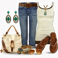 Summer Outfits | Ivy Bag Casual  Bayberry jeans, FULL TILT cami, Kira flip flops, Tall Ivy Bag, Forever 21 belts, Oliver Peoples sunglasses