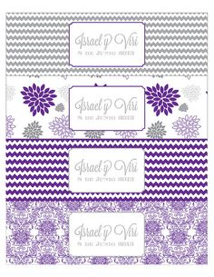 Purple and Grey Dahlia Printable Water Bottle Labels on Etsy, $5.00