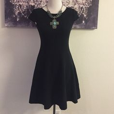 LBD-NWT LOFT black dress Poly/spandex blend so there is stretch to this beauty.  Cap sleeves and zips on the side.  The shape of this dress is perfect for all occasions. NWT size 0 LOFT Dresses Midi