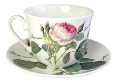 Roy Kirkham Redoute Rose Breakfast Teacup Cup and Saucer Set Fine Bone China by Roy Kirkham: Amazon.it: Casa e cucina