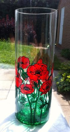 Hand painted glass cylinder vase with a poppy design Mirror Painting, Ceramic Painting, Glass Cylinder Vases, Glass Bottles, Stained Glass Paint, Hand Painted Wine Glasses, Bottle Painting, Glass Ceramic, Bottle Crafts
