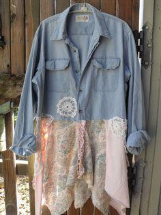 Chambray Upstyled Man's Shirt/Vintage Crochet/Vintage Print/Pink Jersey/Flouncy Asymmetrical Hem/Tunic/Jacket