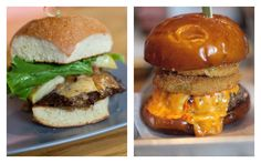 The B&B Burger from Grind Burger Kitchen (left), and the Southern Bell Burger from Mussel and Burger Bar.