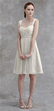 I like the idea of bridesmaids in short white dresses with colourful sashes, vibrant shoes and elegant bouquets.