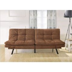 Futon Sofa Bed Furniture Memory Foam Convertible Split Seat And Back Camel  Brown