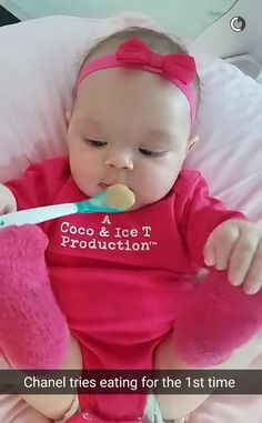 Meal Time! from Ice-T & Coco's Cutest Pictures of Baby Chanel  The baby tries solid food for the first time.