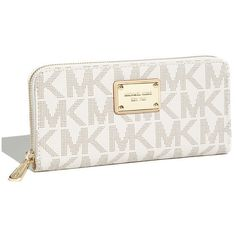 Women's MICHAEL Michael Kors 'Jet Set - Signature' Zip Around Wallet ($140) ❤ liked on Polyvore featuring bags, wallets, wallet, pattern wallet, monogram wallet, michael michael kors, white bag and michael michael kors bags
