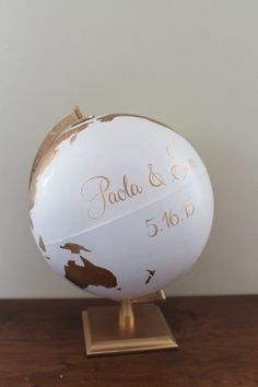 Globe Art Deco Wedding Guestbook Nursery Globe by NewlyScripted Art Deco Wedding, Wedding Blog, Diy Wedding, Wedding Ideas, Globe Art, Globe Decor, Painted Globe, Hand Painted, Guestbook