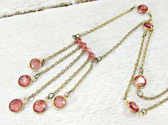 Vintage Bezel Set Crystal Necklace, Pink Swarovski Crystal Elements, Crystal & Gold Tassel Necklace, 1980s Modern High-End Vintage Jewelry by RedGarnetVintage
