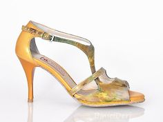 Women's tango shoe - Green & Mustard yellow - binicideri.com