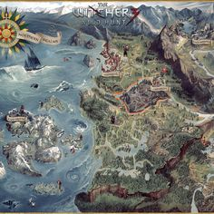 The Witcher 3 Collector's Edition map for CD Projekt Red.  Artist: Damien Mammoliti