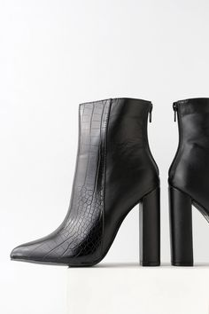 The Lulus Karin Black Crocodile Embossed Two-Tone High Heel Booties are the real deal when it comes to fierce footwear! Two-tone booties with pointed toes. Black High Heels, Black Ankle Boots, Black Booties, Crocodile, Vegan Leather, All Black, Block Heels, Heeled Mules, Bootie Boots
