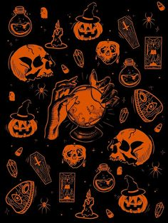 Witch Wallpaper, Skull Wallpaper, Cute Wallpaper Backgrounds, Phone Backgrounds, Phone Wallpapers, Cute Wallpapers, Halloween Designs, Halloween Prints, Halloween Art