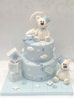 Baby Shower Cake Christening bears – Cake by Samantha's Cake Design – CakesDecor Baby Cakes, Baby Shower Cakes, Gateau Baby Shower, Idee Baby Shower, Baby Birthday Cakes, Baby Boy Shower, 3rd Birthday, Theme Bapteme, Christening Cake Boy