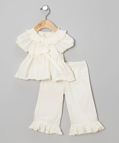 Look at this #zulilyfind! Ivory Gauze Ruffle Top & Pants - Infant by Élysées Bébé #zulilyfinds