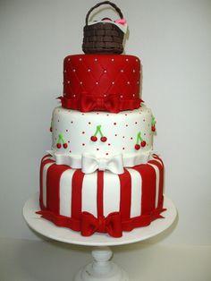 Compre BOLO PROMOÇÃO VENDA no Elo7 por R$ 199,00 | Encontre mais produtos de Bolo Cenográfico e Aniversário e Festas parcelando em até 12 vezes | Bolo cenográfico feito em biscuit. Não comestível. Não acompanha topo do bolo., 39E7B8 Beautiful Birthday Cakes, Beautiful Cakes, Amazing Cakes, Cupcakes, Cupcake Cakes, Bolo Picnic, Fruit Birthday, Cherry Cake, Pineapple Cake
