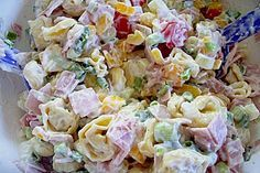 Tortellini salad with yoghurt cream - salat - Pasta Taco Side Dishes, Mexican Side Dishes, Side Dishes Easy, Vegetable Side Dishes, Food Dishes, Corn Salad Recipes, Corn Salads, Rice Pasta, Pasta Salad