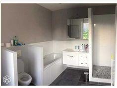 J'aime les couleurs: sol gris, meubles + sous bassement blanc + haut des murs beige/taupe