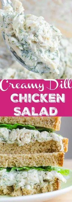 A creamy dill chicken salad sandwich made with fresh dill, mayo, yogurt, garlic, chicken and red onion. The perfect summer sandwich.
