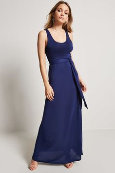 A knit maxi dress featuring a scoop neck, sleeveless cut, and an elasticized waist with a self-tie sash belt.<p>- This is an independent brand and not a Forever 21 branded item.</p>