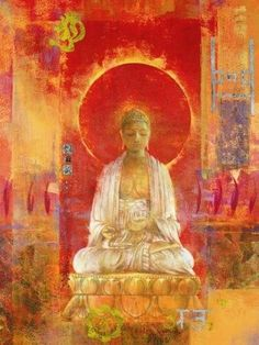 Buddha art sunset colours