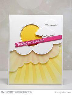 Stamps: Sun-Loving Santa Die-namics: Stitched Cloud Edges, Cut Cloud Outlines, Skinny Strips, Inside & Out Stitched Circle STAX Stencil: Sunrise Radiating Rays Karolyn Loncon Kiwi Lane Designs, Cool Cards, Diy Cards, Cloud Outline, Diy Girlande, Karten Diy, Rainbow Card, Friendship Cards, Get Well Cards