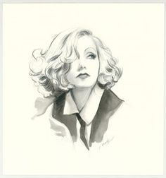 "Maly Siri - Pin-up Art Illustration originale intitulée ""Greta Garbo"""