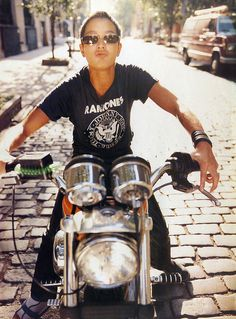 Jenny Shimizu. A top in a Ramones shirt and sunglasses, on a motorcycle. Hot!!!