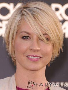 jenna elfman short hair   Jenna Elfman Short Straight Capless Human Hair Bob Wigs : fairywigs ...