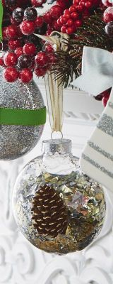 Make your own... since I had to leave ALL my ornaments in storage until we settle... this is a great way to re-celebrate memories at the Holiday Time.  Add Cheer