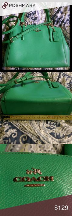 """COACH Green Satchel Lovely green COACH satchel in bright spring green. Has mark on from body pointed out in pictures, likely from rubbing w jeans or something dark. Handles have a 6"""" drop, detachable strap is 48"""" long to be worn as a crossbody. Authentic, one owner (me). Leather and in EUC. It's too small for my big purse life. It's dimensions are 10.5"""" at base width, 9"""" across at top, 7"""" high, and 3.5"""" deep (or wide). Coach Bags Satchels"""