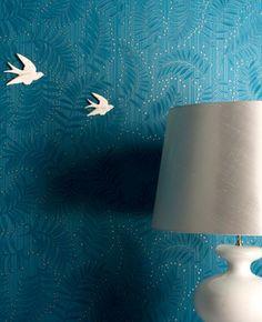 30-688 Premier Vinyl Fern: Teal wallpaper Blue,Cream Trail Wallpaper