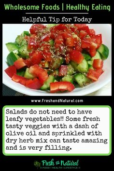 Salad-ideas... nutritious food can be easy to make and yummy to taste! #saladbowl #salad #cucumber #tomatoes #RedBellPepper #oregano Health Foods, I Foods, Eating Raw Garlic, Benefits Of Eating Avocado, Food Artists, Grilled Zucchini, Fatty Fish, Salad Ideas, Drying Herbs