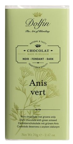 Dark with Green Anissed - The surprising, enticing combination of the fresh and crunchy aniseed in our dark chocolate.