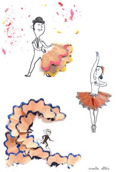 ☛ Arte apontada by André Montejorge ☚ Marta Alté creatively use ordinary pencil shavings to create cute and simple illustrations. ↠@ambika95↞