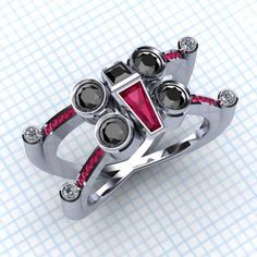 Star Wars X Wing anillo diamante negro y Ruby por PaulMichaelDesign