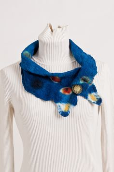 Nuno felting, bunny fur, shibori hand dyed, with button closure, super soft and warm, Beech Hill