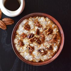 Enjoyed cold or hot, this fast make-ahead maple pecan overnight oatmeal includes easy toasted maple pecans. Vegan, gluten-free, soy-free.